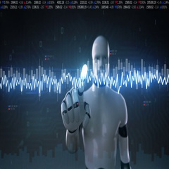 Robot touched Stock Market charts, graphs. normal line. Artificial Intelligence. Stock Footage