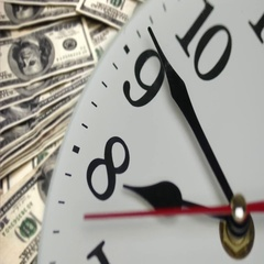 Wall Clock And Dollars Stock Footage