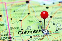 Columbus pinned on a map of Ohio, USA Kuvituskuvat