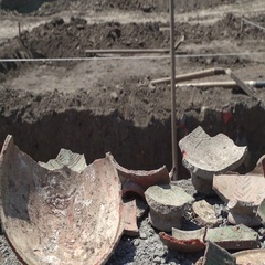 Ancient shards of bowls. Concept ages and time. Dolly Right Left closeup long Stock Footage