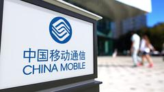Street signage board with China Mobile logo. Blurred office center and walking Stock Illustration