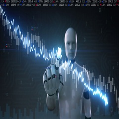 Robot touched Stock Market charts,graphs. decrease line. Artificial Intelligence Stock Footage