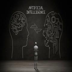 Robot standing wall, Handwriting Human head shape, 'Artificial Intelligence'. Stock Footage