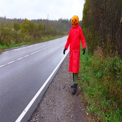 Pumpkinhead stand in panic at empty road side, clutch one head, come towards Stock Footage