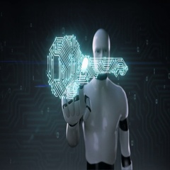Robot touching Shape of key, circuit board light line, artificial intelligence Stock Footage
