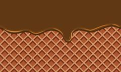 Cream Melted on Chocolate Wafer Background : Vector Illustration Stock Illustration