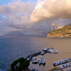 Time lapse of Sorrento coastline, gulf of Naples and Mount Vesuvius Stock Footage