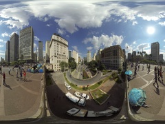 SAO PAULO, BRAZIL: People protest on Tea Viaduct, by living in tents 360VR Stock Footage