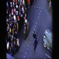 1951: many people gathered in the street to watch an event taking place TEXAS Stock Footage