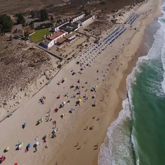 Aerial. Flying over summer beach Barril. Tavira Portugal Stock Footage