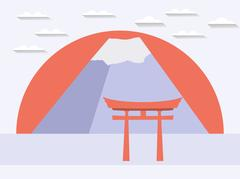 Japanese gate. Japanese mountain. Symbol of Japan in a flat style. Stock Illustration