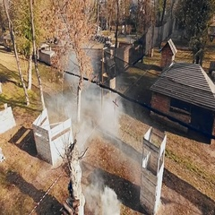 Aerial view of paintball field with players. Stock Footage