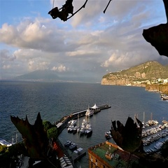 Panoramic view of gulf of Naples and Mount Vesuvius on the background Stock Footage