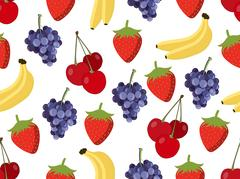 Set of seamless pattern with fruit. Vector background. Stock Illustration