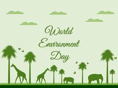World Environment Day, reserve, Landscape with animals Stock Illustration