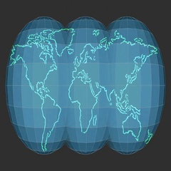 World map symbol on three rotating globes Stock Footage
