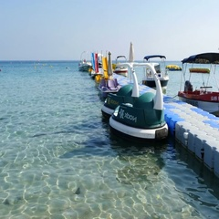 Motor boats at the pier in the sea Stock Footage