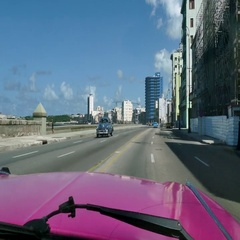 View Of Malecon Havana Cuba Caribbean Sea From Classic Car Stock Footage
