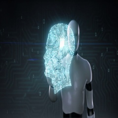 Robot touching Brain shape of head digital lines, grow artificial intelligence Stock Footage