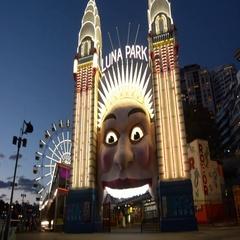 Luna Park Sydney entrance Australia at dusk Stock Footage