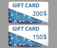 Gift card. Set of shiny gift cards. Stock Illustration