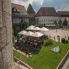 The courtyard at Ljubljana castle Stock Footage