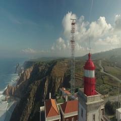 Cabo Da Roca Light House Aerial Video Stock Footage