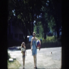1947: mother and daughter walking CONNECTICUT Stock Footage