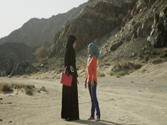 Arab women talking outdoors. Stock Footage