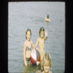 1947: children enjoying a day by the lake. CONNECTICUT Stock Footage