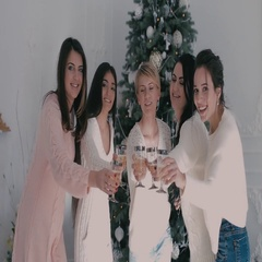 Portrait of five woman holding the glasses of champagne on the background of Stock Footage