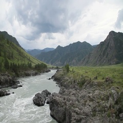 Mountain landscape with a river. The total frame. Sky. Mining Siberia Russia. Stock Footage