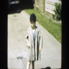 1949: i see you recording me but i don want to be on camera, little boy Stock Footage