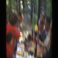 1949: a small boy playing in the woods during a picnic MASSACHUSETTS Stock Footage