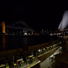 Sydney Harbour Bridge and the Opera House skyline at night  Stock Footage