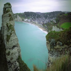 Aerial view of Etretat resort town in France, azure water, relaxing landscape Stock Footage