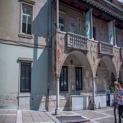 Balcony with some outstanding ornaments at Križanke Outdoor Theatre Stock Footage