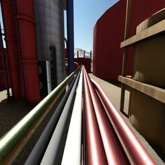 Oil and gas industry facilities in animation Stock Footage