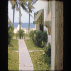 1945: unique view outside room during vacation FLORIDA Stock Footage
