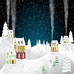 Christmas house on a background of winter night. Flat style. Little cottage Stock Footage