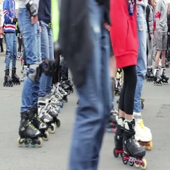 Bunch of Rollerblades in Crowd of Active Leisure Lovers Stock Footage