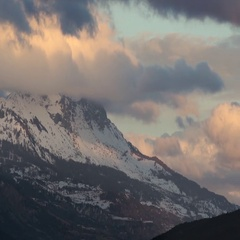 Winter sunset on the Aiguilles de Chabrieres. Alps, France Stock Footage