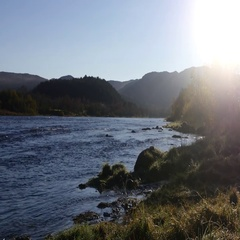 Pan view on kayaks and Alta river full of autumn colors, in Alta, Finnmark, i Stock Footage