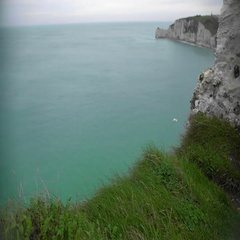 View on English Channel and rocky cliffs in Etretat, France, divine nature Stock Footage