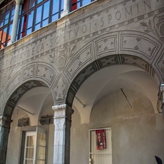 Beautiful arches and interior in the courtyard Stock Footage