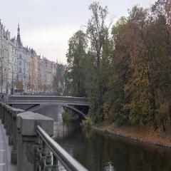 Old Buildings On Embankment In Prague Stock Footage