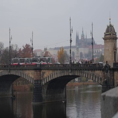 Prague Castle And People Walking On Bridge Stock Footage