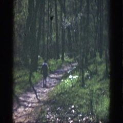 1949: a lone child walks down a wooded trail, startled by something, the child Stock Footage