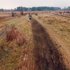 Aerial view of atv on the track. Stock Footage