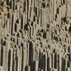 Close up of famous basalt rocks on black sand beach Reynisfjara in Iceland Stock Footage